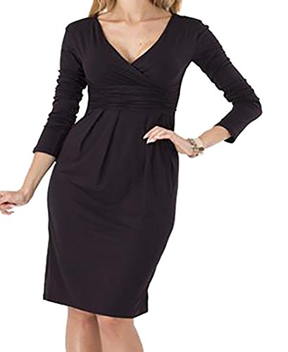 Wrap Women's V Small Solid Midi Dress Cruiize Neck Long Sleeve Black Casual Cross qXxwO6pdOS