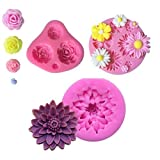 AKINGSHOP flower fondant mold,hot chocolate mold,flower silicone mold-Roses Flower Mold,Lotus Flower Mold and Daisy Flower Mold(3pcs)
