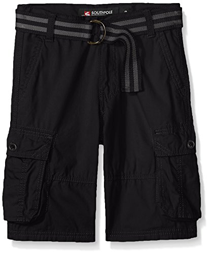 Southpole Big Boys' Belted Mini Canvas Cargo Shorts in Various Colors, Black, 10