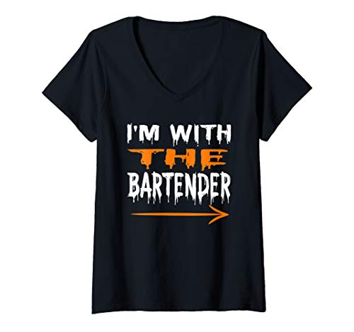 Womens I'm With The Bartender Funny Last Minute Halloween Costume V-Neck T-Shirt