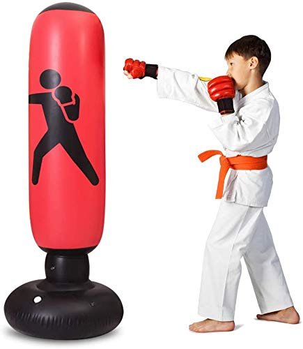 TUOWEI Inflatable Punching Bag for Kids, 63Inch Kids Punching Bag with Stand Bounce Back, Boxing Bag for Kids and Adults