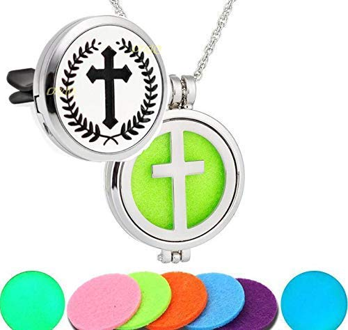 Essential Oil aroma Diffuser Cross Locket Pendant Necklace AND Car Vent Clip. Faith Jesus Bundle. Magnetic closure Easter gift