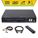 DVD Player, Sindave Compact DVD Players for TV Region Full HD Upscaling 1080p UpConverting DivX, USB Direct Copying and Playback, SD Cardreader Karaoke Mic Port (HD DVD Player)