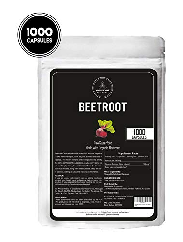 Naturevibe Botanicals Beet Capsules, Ultra-Premium -100% Organic Beet Root Powder, 1100mg Per Serving (1000 Capsule)