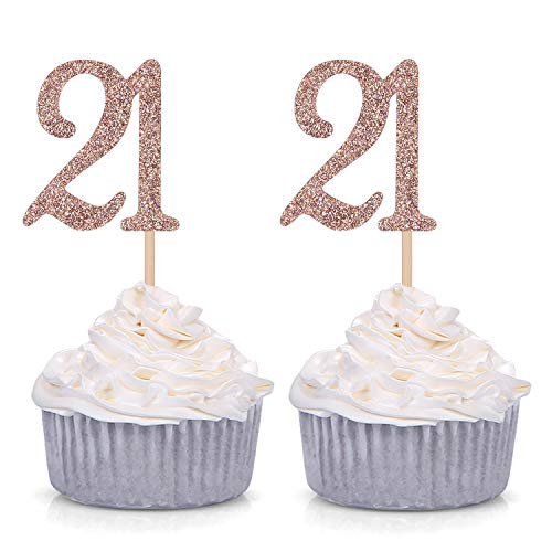 24 CT Rose Gold Glitter Number 21 Cupcake Toppers 21st Birthday Party Decoration Picks