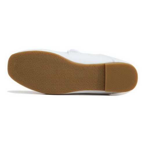 WeiPoot Womens Closed Round Toe Cow Leather Soft Material Solid Flats with Bandage White t2WWyfL