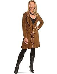 Women's Ruffle Suede Leather Long Jacket - L504-81