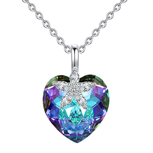 yifgo Fashion Swarovski Crystal Necklace for Women Heart of The Ocean Necklace Heart Necklace Flower Necklace for Girls Cubic Zirconia Necklace