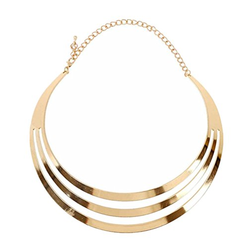 Gorgeous Metal Multi Layer Choker Bib Collar Necklace Jewelry (Gold) by Lovestore2555