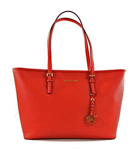 Michael Kors Jet Set Travel Top Zip Saffiano Leather Multifunction Tote Purse Handbag Shoulder Bag For Work School Office Travel (Dark Sangria) by MICHAEL Michael Kors