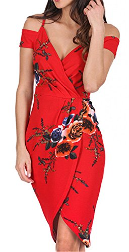 Short Sleeve Cold Open Shoulder Deep V Neck Draped Ruched Asymmetric High Low Hem Floral Midi Bodycon Dress Red XL