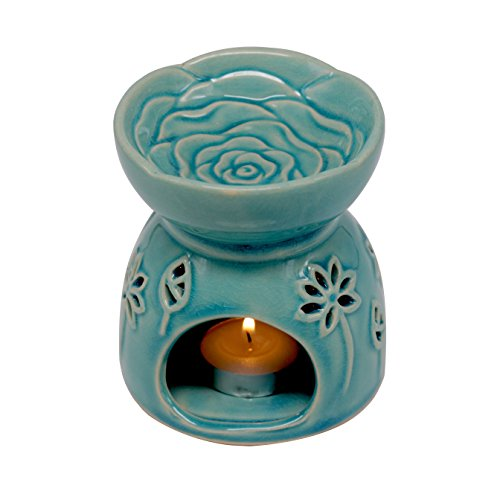 - DELIWAY Ceramic Tea Light Holder/Wax Melt Warmer, Great Essential Oil Burner Aromatherapy Diffuser for Living Room, Balcony, Spa Yaga Meditation (Blue, 80ML)