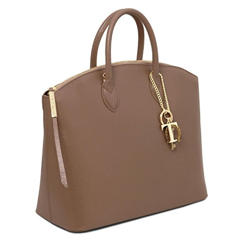 in Tuscany shopper Saffiano Leather KeyLuck pelle scuro Talpa Borsa TL rHgRwHqX
