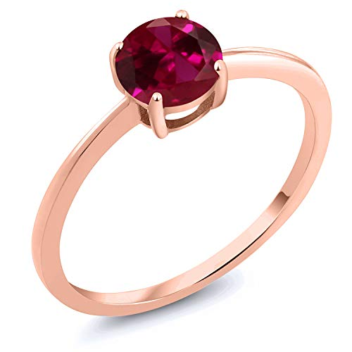 - Gem Stone King 10k Rose Gold Red Created Ruby Rose Gold Women's Solitaire Ring 1.00 Ct Round (Size 9)