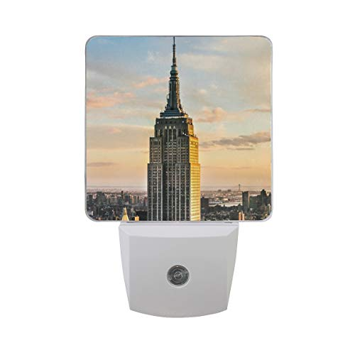 Empire State Building White LED Sensor Night Light Super Bright Power Dusk to Dawn Sensor Bedroom Kitchen Bathroom Hallway Toilet Stairs Energy Efficient Compact(2 Pack)