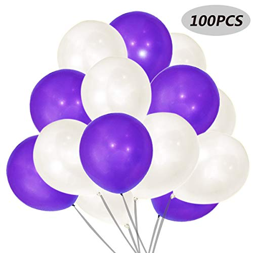 (Balloons White and purple 12 inch 100 Pcs Helium Quality Latex for Party)
