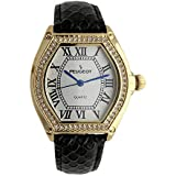 Peugeot Women's Watch 14K Gold Plated with Crystal Bezel and Leather Wrist Strap