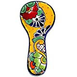 Mexican Pottery Spoon Rest Hand Painted Handcrafted Majolica Talavera (Yellow) - ARTESANO