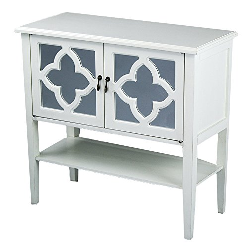 Heather Ann Creations 2-Door Console Cabinet with 4-Pane Clover Mirror Insert, Antique White by Heather Ann Creations