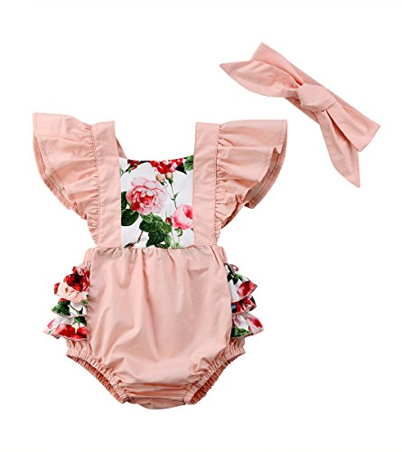 (doublebabyjoy Baby Girls Two Pieces Flower Print Buttons Short Sleeve Ruffles Romper Bodysuit with Headband (Pink, 12-18 Months))
