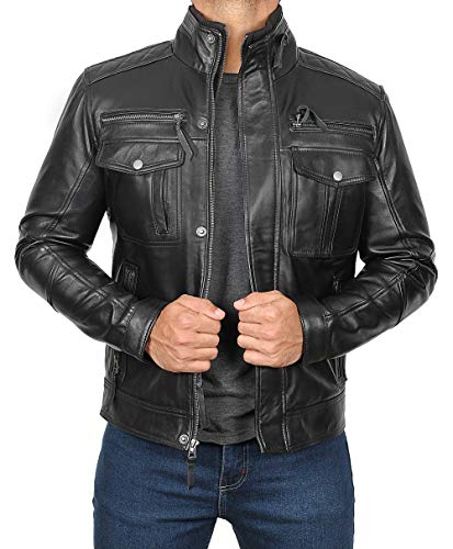 Moffit Mens Black Leather Jacket | XL