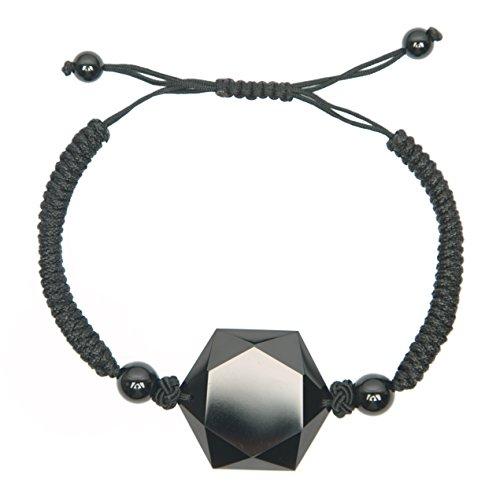 Black Obsidian Hexagram Star of David Pendant Drawstring Bracelet (Obsidian Star)