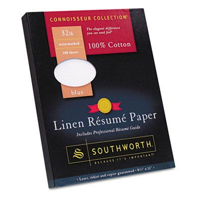 100% Cotton Linen Resume Paper, Blue, 32 lbs., 8-1/2 x 11, 100/Box, Sold as 100 Each (Resume Linen Southworth Paper)
