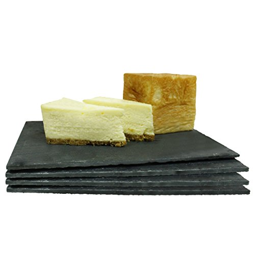 Slate Cheese Boards - Set of 4 - Serving Tray, 8.7 x 6.2 Inch - by Sweese (Stone Plates)
