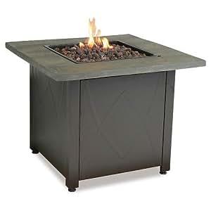 thresholdtm 30 square lp gas fire table faux wood mantel garden outdoor. Black Bedroom Furniture Sets. Home Design Ideas