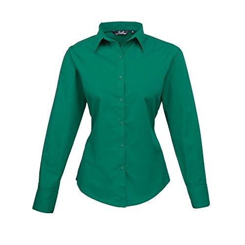 Premier Women 's formal Poplin Long Sleeve Camiseta Esmeralda