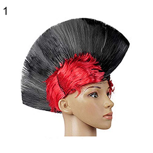 Kekailu Wigs Multicolor Funny Punk Mohawk Mohican Hairstyle