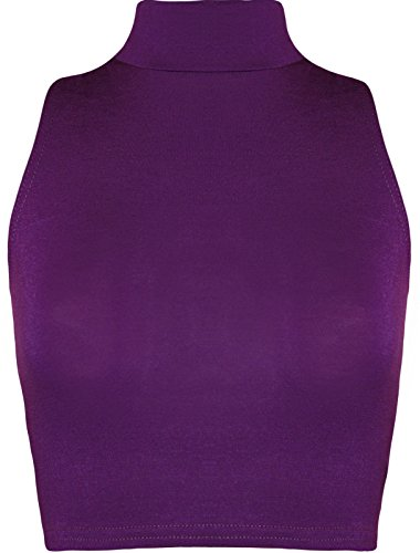 Maillot Top Filles EUR Violet 36 Casual Turtle Crop Neck Taille Mesdames Sleeveless 42 q0wxdII
