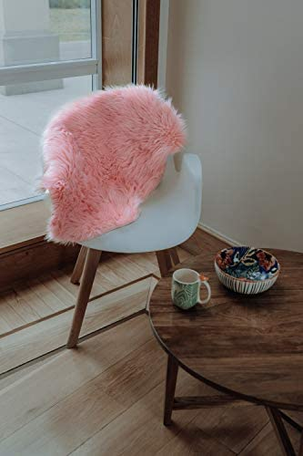 BALIBETOV Soft Faux Fur Chair Couch Cover Area Rug for Bedroom Floor Sofa Living Room 2 x 3 ft Sheepskin, Pink