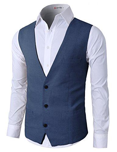 Linen Wool Vest (H2H Business Casual Slim Fit Stylish Suit Solid 3 Button Linen Vest Navy US S/Asia M (CMOV039))