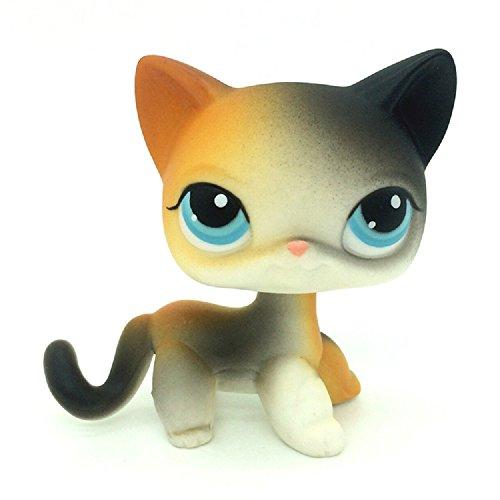 DZH #106 Littlest Pet Shop Animals LPS Toy Black & Orange Short Hair Cat Figure - Orange Bobble Head