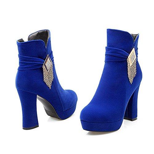 Azul Mujeres Redonda Con Metal Tacón Puntera Agoolar Sólido Cremallera Grueso Botas 6qvZWFxS