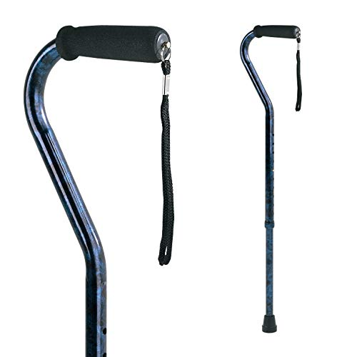 Carex Offset Designer Walking Cane - Height Adjustable Cane with Wrist Strap - Latex Free Soft Cushion Handle, Supports 250lbs, Blue