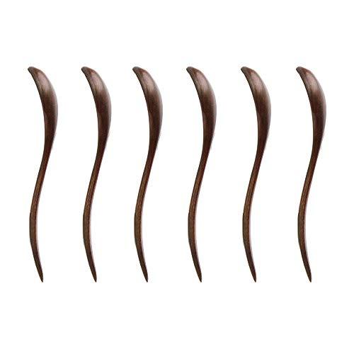 (7 inch Handmade Bend handle Wooden Spoons Teaspoon for Eating, Dinner, Salad, Desserts, Chips, Snacks, Cereal, Fruit (Set of 6))