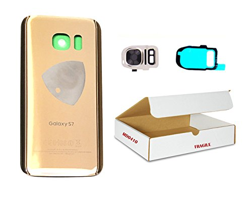 (md0410) Gold back door rear battery housing camera lens flash cover replacement Compatible Galaxy S7 G930 + adhesive + opening tool