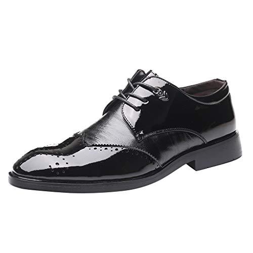 RQWEIN Men's Oxford Shoes Classic Uniform Slip on Dress Shoes Formal Business Comfortable Shoes Wedding Oxfords for Men