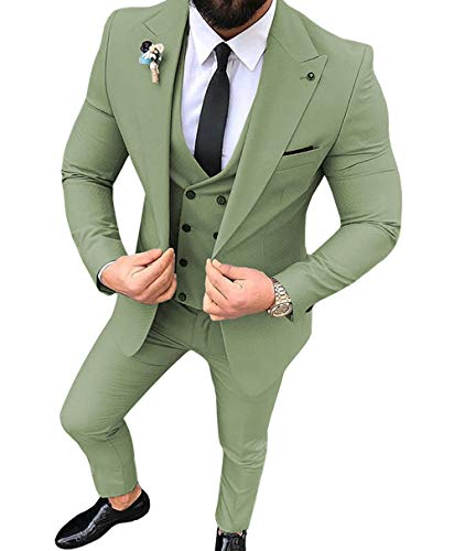 Zeattall Men's Suits Blazers with Vest Pants 3 Pieces Groom Male Wedding Prom Suit(Custom Made,Tea Green) (Wedding 3 Piece Suits For Groom In India)