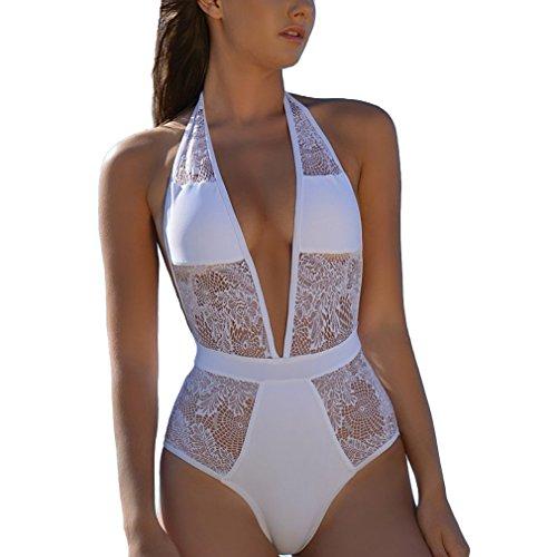 White Halter Swimsuit - 7