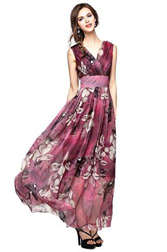 Joy EnvyLand Women V-neck Flower Prom Party Tunic Long Cocktail Beach Dress