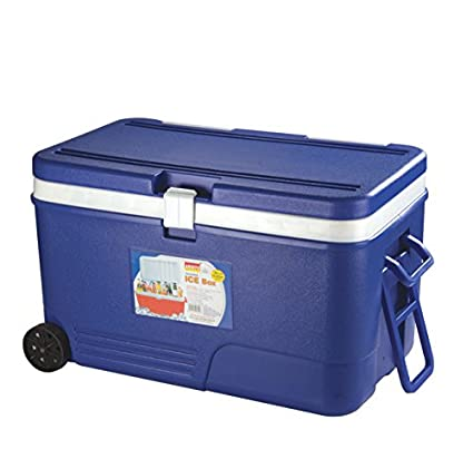 6454cd52f3a 60L COOLBOX BLUE COOLER BOX WITH WHEELS PICNIC ICE FOOD INSULATED TRAVEL   Amazon.co.uk  Kitchen   Home