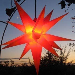 Mit LED Außenstern Stern rot mit gelben Spitzen Weihnachtsstern 55-60 cm Stern außen, mit Leuchtmittel LED (StaRt-NDL-DUH-E14-C3,5W), 104 Dioden [Energieklasse A+] Werterhalt ums Haus