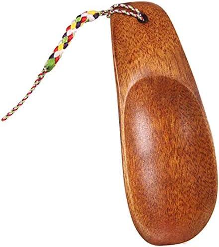 靴べらホームミニ高齢妊娠中の女性のためのポータブルソリッドウッドシューホーンとすべての家族ポータブルショート靴べらRed-brown,8.5x3.3cm
