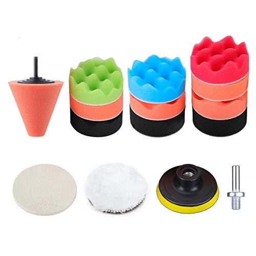 (3 Inch Buffing Sponge Pads INSMA 15 PCS Car Foam Polishing Pad Kit Compound Drill Buffing Sponge Pads Kit for Car Sanding, Polishing, Waxing, Sealing Glaze)