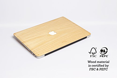 WOODWE Real Wood MacBook Skin Sticker Decal for Mac pro 15 inch Retina Display | Model: A1398; Mid 2012 – Mid 2015 | Genuine & Natural ASH Wood | TOP&Bottom Cover by WOODWE (Image #2)
