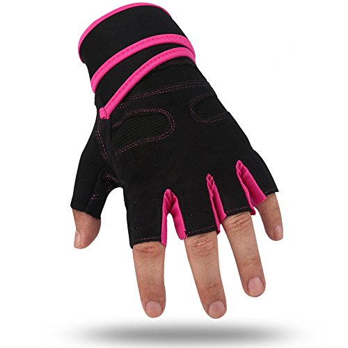 Glove Girls Elite (Wrist Support Gloves Specialized For Women Adults Pro Body Physical Fitness Home Workout Bodybuilding Lifting Weights Gymnastics Dumbbell Motorcycles Biker Gloves Wrist Strap (Pink, M))