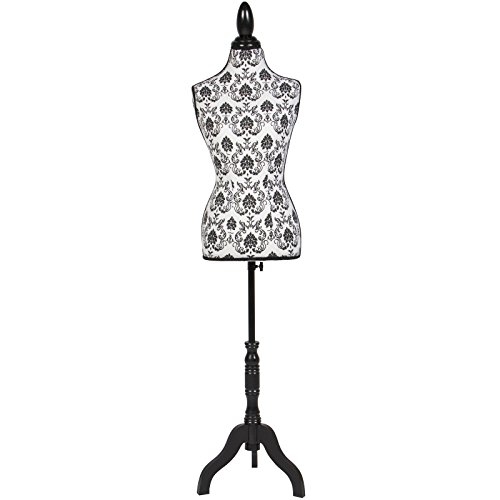 classy-vintage-like-female-mannequin-torso-dress-form-display-with-black-tripod-stand-design-pattern